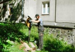 Geotechnik podczas pracy